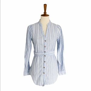 Anthropologie Building 18 Striped Tie Blouse